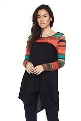 PLUS Stripe Contrast Handkerchief Hem Tunic