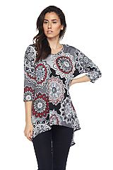 Medallion Print Hi Lo Tunic Top