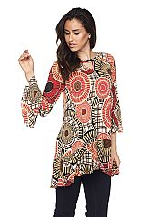 Fall Medallion Print Top With Raw Edge