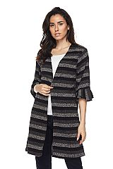 Striped Open Front Knit Cardigan