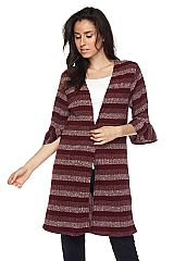 PLUS Striped Open Front Knit Cardigan