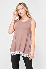 Solid Lace Trim Hem Detail Sleeveless Top