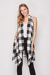 Checkered Soft Thin Knit Cardigan