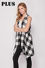 PLUS Checkered Soft Thin Knit Cardigan