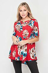 Chic Bold Red Elegant Floral Print Criss Cross