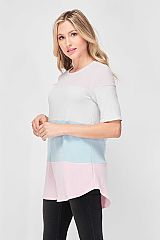 Soft Color block Thin Knit Elbow Length Sleeves