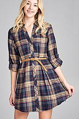 Plaid Belted Shirt Dress