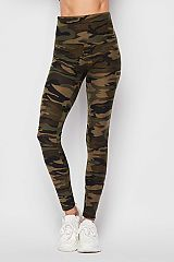Camouflage Print Ankle Leggings w/5 inch waistband