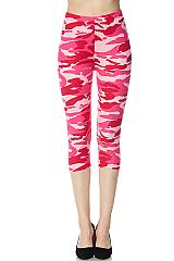 Pink Camo Print Yummy Brushed Capri Leggings