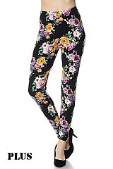 PLUS Multi Floral Print Ankle Leggings