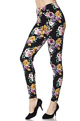 Multi Floral Print Ankle Leggings