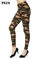 PLUS Camouflage Army Print Ankle Leggings