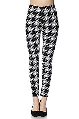 Houndstooth Print Ankle Leggings