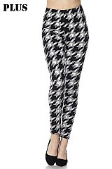 PLUS Houndstooth Print Ankle Leggings