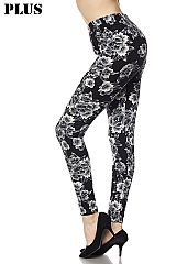 PLUS Brushed Floral Print Ankle Leggings.