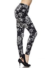 Brushed Floral Print Ankle Leggings.