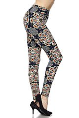 Mandala Print Brushed Ankle Leggings