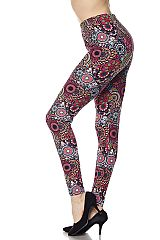 Floral Mandala Print Yummy Brushed Ankle Leggings