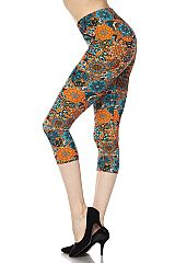 Splash Mandala Print Capri Leggings