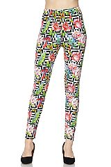 Roses on Zig Zag Square Print Ankle Leggings