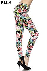 PLUS Roses on Zig Zag Square Print Ankle Leggings