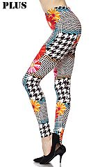 PLUS Flowers on Geo Pattern Ankle Leggings