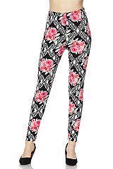 Flowers on Diamond Geo Print Ankle Leggings