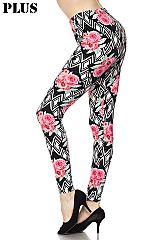 PLUS Flowers on Diamond Geo Print Ankle Leggings