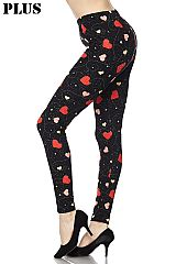 PLUS Falling Hearts Galaxy Print Ankle Leggings