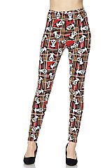 Panda Print Red Ankle Leggings