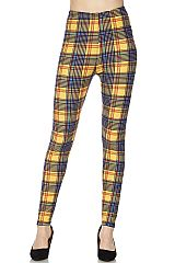 Mustard Plaid Print Ankle Leggings