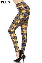PLUS Mustard Plaid Print Ankle Leggings