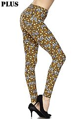 PLUS Zebra Print Yellow Ankle Leggings