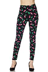 Pink Cherry Print Ankle Leggings