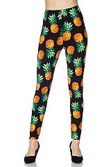 Orange Pineapple Print Black Ankle Leggings