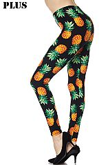 PLUS Orange Pineapple Print Black Ankle Leggings