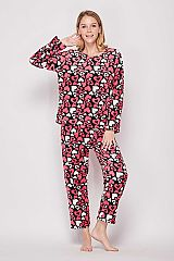 Red Heart Candy Printed Brushed Pajama Set