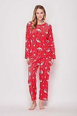 Red Star and Moon Printed Brushed Pajama Set