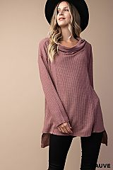 Cowl Neck Loose Fit Waffle Knit Tunic