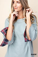 Plaid Lined Loose Sleeve Top