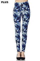 PLUS Blue Tie Dye Print Yummy Brushed Ankle Leggings