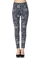 Paisley Print Yummy Brushed Ankle Leggings