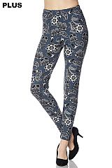 PLUS Paisley Print Yummy Brushed Ankle Leggings