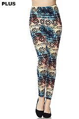 PLUS Multi Color Gradient Print Yummy Brushed Ankle Leggings