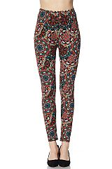 Mandala Print Yummy Brushed Ankle Leggings