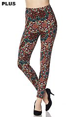 PLUS Mandala Print Yummy Brushed Ankle Leggings