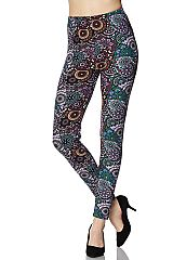 Multi Color Mandala Print Yummy Brushed Ankle Leggings