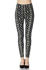 Skull Mandala Print Yummy Brushed Ankle Leggings