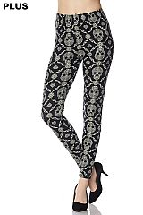 PLUS Skull Mandala Print Yummy Brushed Ankle Leggings