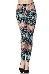 Multi Pattern Print Yummy Brushed Ankle Leggings